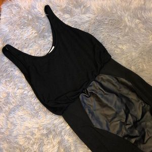 Minkpink Black Mini Dress with Faux Leather Patch